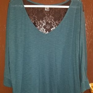 EUC - Dark Teal Lace-Back Shirt